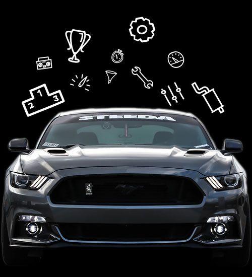 getuntes Auto mit verschiedenen Autosport-Icons außenrum