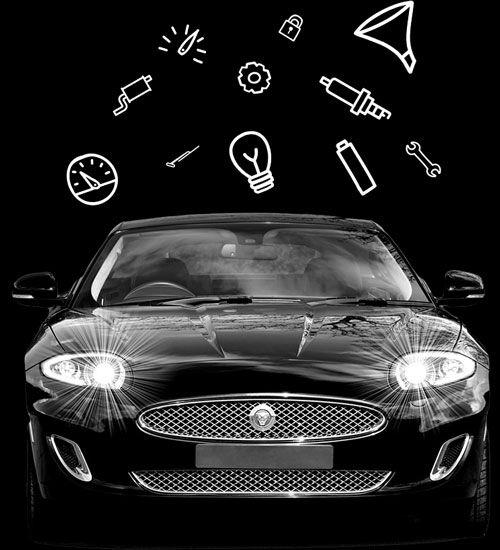 Auto mit verschiedenen Autoteile-Icons außenrum