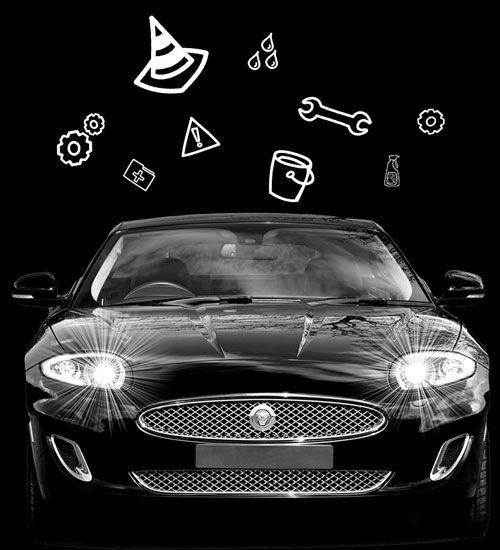 Auto mit verschiedenen Autozubehör-Icons außenrum