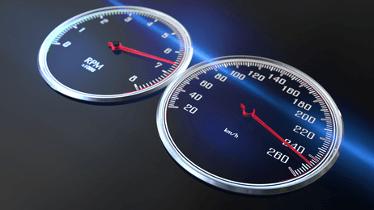 Geschwindigkeits- und Umdrehungsanzeige eines Autos
